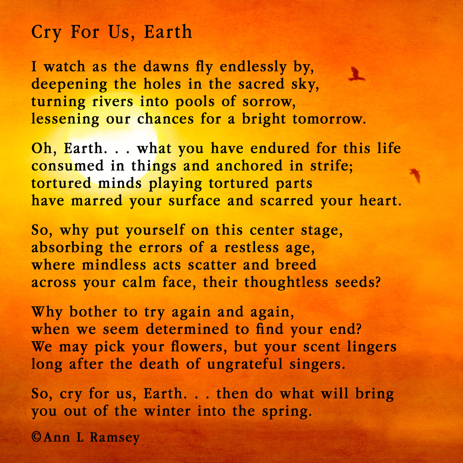 Cry For Us, Earth